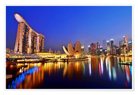 Premium poster Singapore cityscape at night