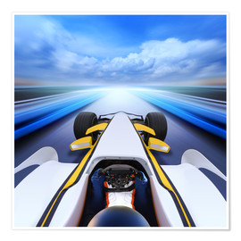 Poster  F1 car at full speed