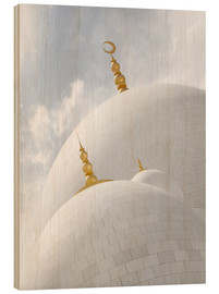 Wood print  white cupolas of sheikh zayed mosque