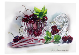 Acrylic print  Watercolor Cherry bowl - Maria Mishkareva