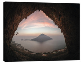 Canvas print  Climber on Telendos island at sunset