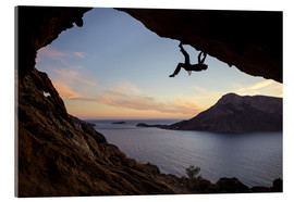 Acrylic print  Climber in a cave at sunset