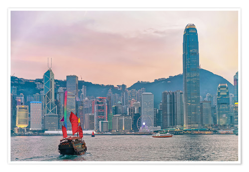 Premium poster Skyline of Victoria Harbor, in Hong Kong