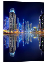 Acrylic print  Dark blue night - Dubai Marina bay