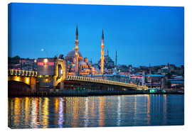 Canvas  Galata Bridge at night in Istanbul
