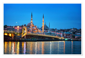 Premium poster Galata Bridge at night in Istanbul