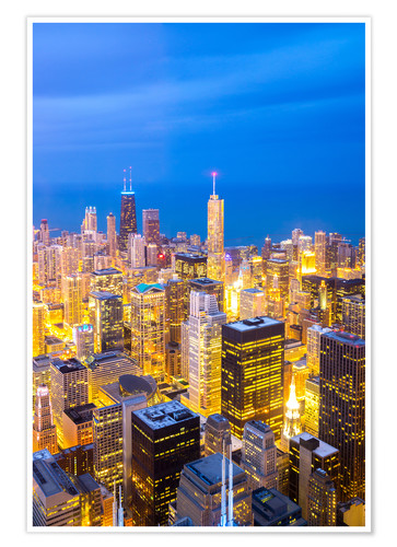 Premium poster Chicago City at night
