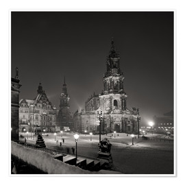 Premium poster  Dresden Frauenkirche in winter