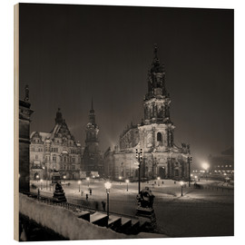 Wood print  Dresden Frauenkirche in winter