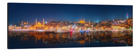 Aluminium print  Istanbul and Bosporus at night