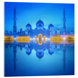 Acrylic glass  Sheikh Zayed Grand Mosque at blue