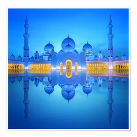 Premium poster Sheikh Zayed Grand Mosque in blue