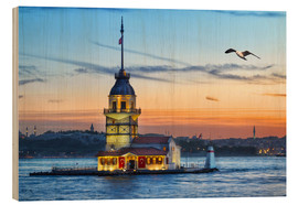 Wood print  Maiden's Tower on the Bosphorus