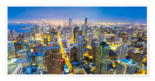 Premium poster Night view of Chicago