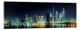 Acrylic print  Panorama of the business houses of Dubai