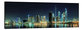 Aluminium print  Panorama of the business houses of Dubai
