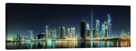 Canvas  Panorama of the business houses of Dubai