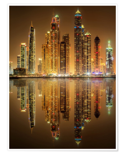 Premium poster Lighting the Dubai Marina Bay