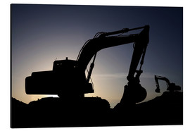 Aluminium print  Two excavators