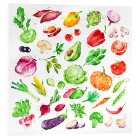 Acrylic print  Fruits and vegetables watercolor