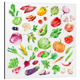 Aluminium print  Fruits and vegetables watercolor