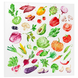 Foam board print  Fruits and vegetables watercolor