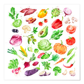 Premium poster  Fruits and vegetables watercolor