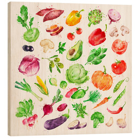 Wood  Fruits and vegetables watercolor