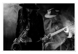 Premium poster Saxophonist and guitarist