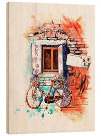 Wood print  Italian bike near the window - Anastasia Mamoshina