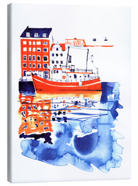 Canvas  Copenhagen canal and harbour - Anastasia Mamoshina