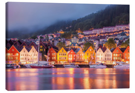 Canvas print  Famous Bryggen street in Bergen, Norway