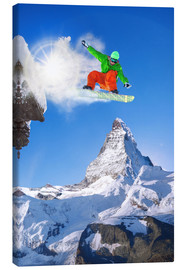 Canvas  Snowboarder in front of Matterhorn