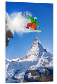 Foam board print  Snowboarder in front of Matterhorn