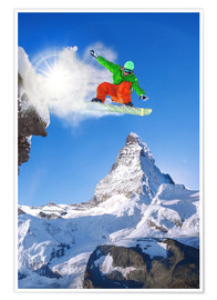 Poster  Snowboarder in front of Matterhorn