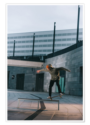 Premium poster Skateboarder balances on a bench