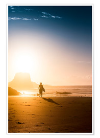 Premium poster Silhouette of a surfer on the beach