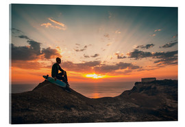 Acrylic glass  Young man with skate board watching the sunset