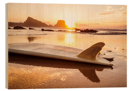 Wood print  Surfboards at the beach