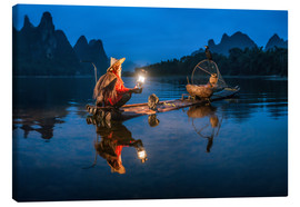 Canvas print  Chinese cormorant fisherman in front of karst landscape in Guilin, China - Jan Christopher Becke
