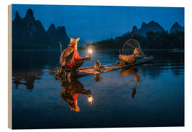 Wood print  Chinese cormorant fisherman in front of karst landscape in Guilin, China - Jan Christopher Becke