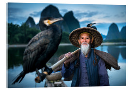 Acrylic print  Chinese fisherman with cormorant in Guilin, China - Jan Christopher Becke