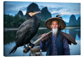 Canvas  Chinese fisherman with cormorant in Guilin, China - Jan Christopher Becke