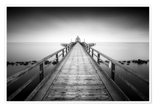 Premium poster Pier Sellin | black-white (Rügen / Baltic Sea)