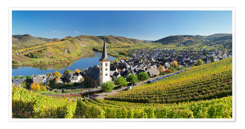 Premium poster Mosel River Bend in autumn, Bremm