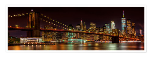 Premium poster MANHATTAN SKYLINE & BROOKLYN BRIDGE Idyllic Nightscape