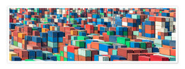 Premium poster Industrial shot of a container terminal with colorful ISO containers