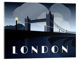 Acrylic print  London Tower Bridge Art Deco style - Alex Saberi
