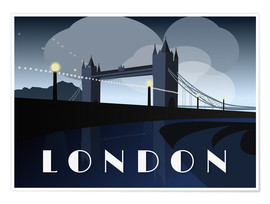 Premium poster London Tower Bridge Art Deco style
