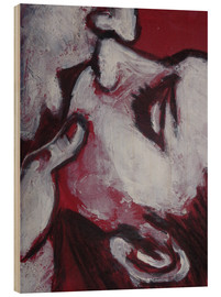 Wood print  Lovers - Kiss In Red - Carmen Tyrrell